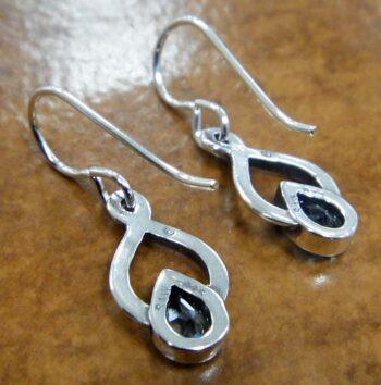 back of Sierra Designs blue topaz twist earrings