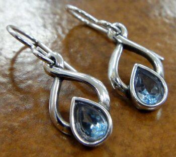 handmade blue topaz and sterling silver twist design drop earrings
