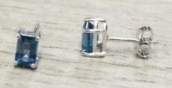 blue topaz emerald cut rectangle sterling silver stud earrings