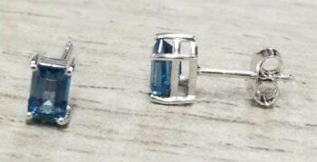 blue topaz emerald cut rectangle sterling silver stud earrings