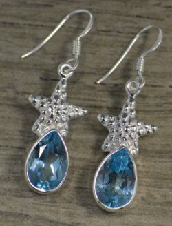 Blue topaz with starfish silver earrings by Anna King Jewelry