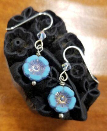 Czech glass blue tropical flower earrings