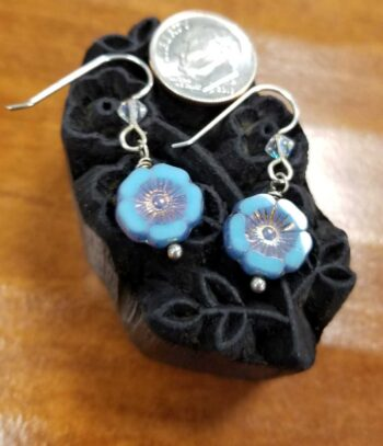blue flower earrings with dime for scale