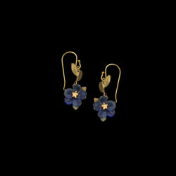 blue violets dangle earrings