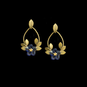 Blue violets post hoop earrings by Michael Michaud