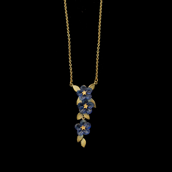 blue violet three flower necklace