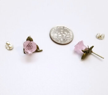 pink blushing rose post earrings with dime for scale