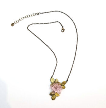 pink blushing rose in bloom necklace from Michael Michaud