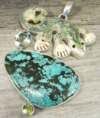 Handmade carved bone lizard, turquoise, green amethyst, and peridot pendant