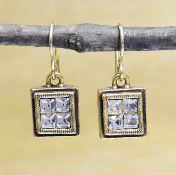 Patricia Locke Box Office goldtone earrings in All Crystal