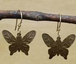 antiqued brass butterfly earrings by Joseph Brinton