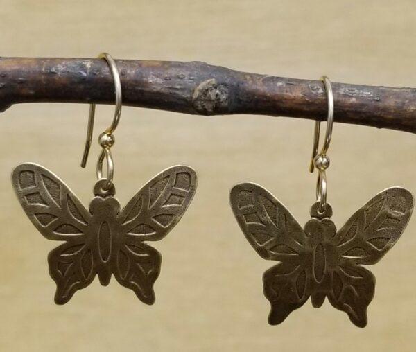 antiqued brass butterfly earrings by Joseph Brinton