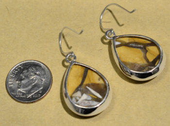 back of brecciated mookaite jasper drop earrings with dime