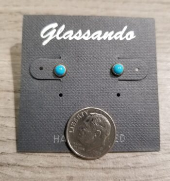 light blue enamel and sterling silver stud earrings with dime for scale