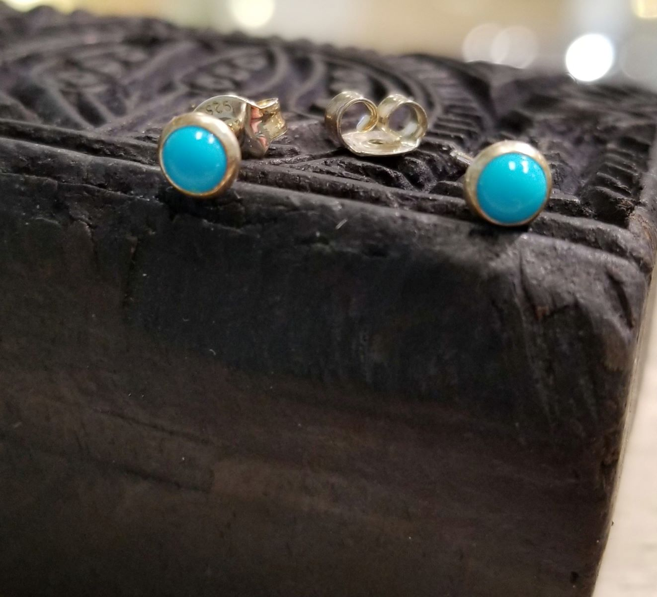 Petite light blue enamel and sterling silver stud earrings