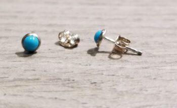 petite light blue enamel and sterling silver stud earrings