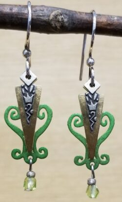 green long dangle earrings by Joseph Brinton
