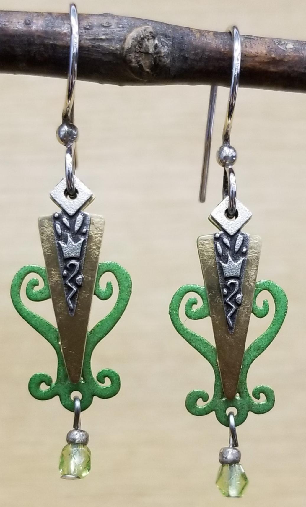 green long dangle earrings by Joseph Brinton