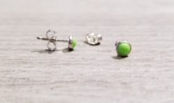 light green enamel stud earrings