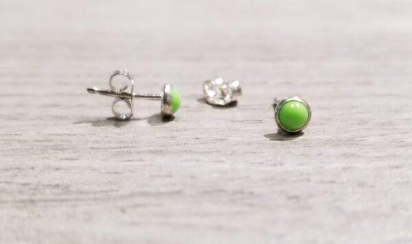 light green enamel stud earrings