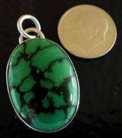 turquoise and sterling silver pendant by Dale Repp with dime for size