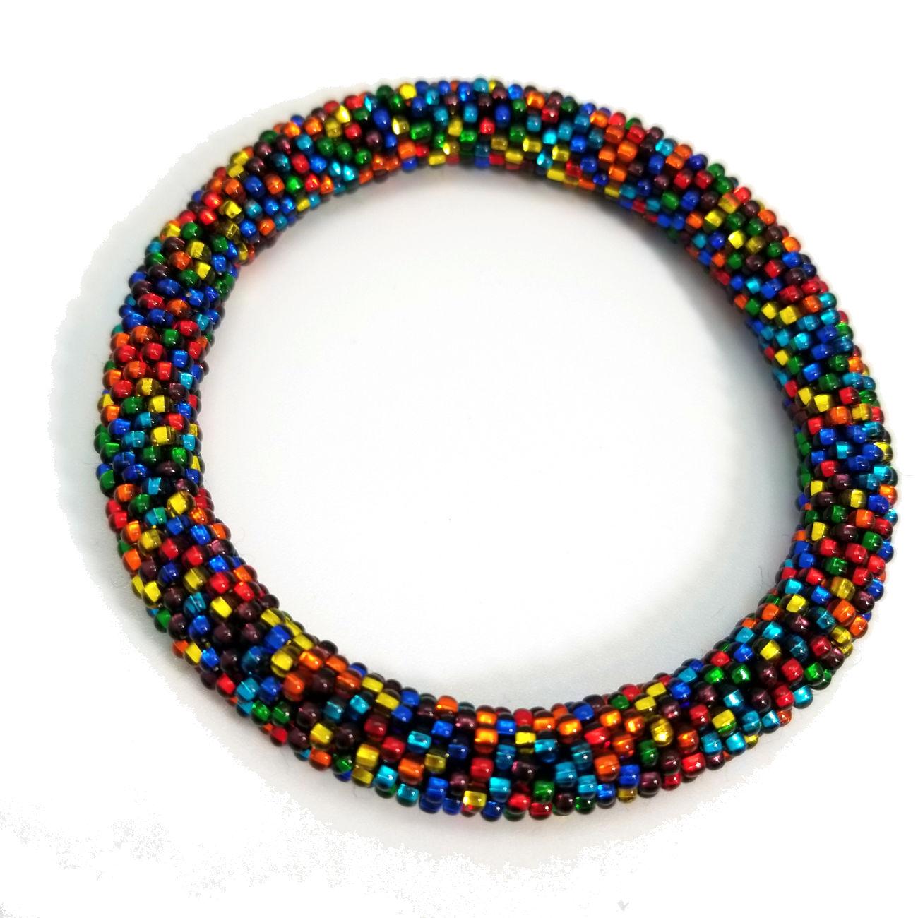 Czech glass multicolor seed bead roll-on bracelet