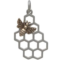 bronze honey bee and sterling silver honeycomb charm