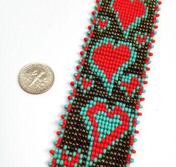 detail of woven heart seed bead necklace