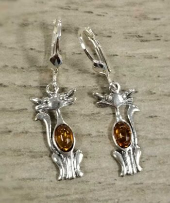amber cat and sterling silver dangle earrings