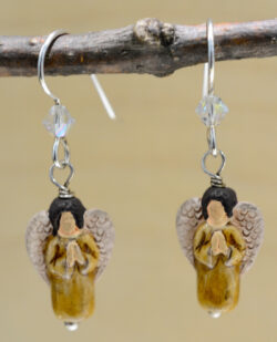 handmade brown ceramic angel dangle earrings
