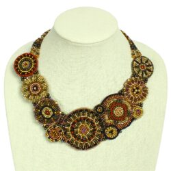 handmade Czech glass beaded brown statement necklace