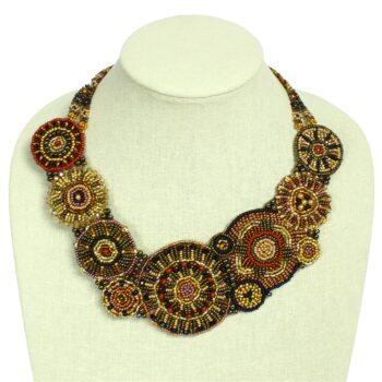handmade Czech glass beaded brown statement necklace