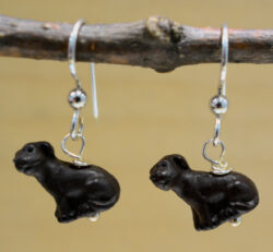 Handmade brown ceramic dog earrings