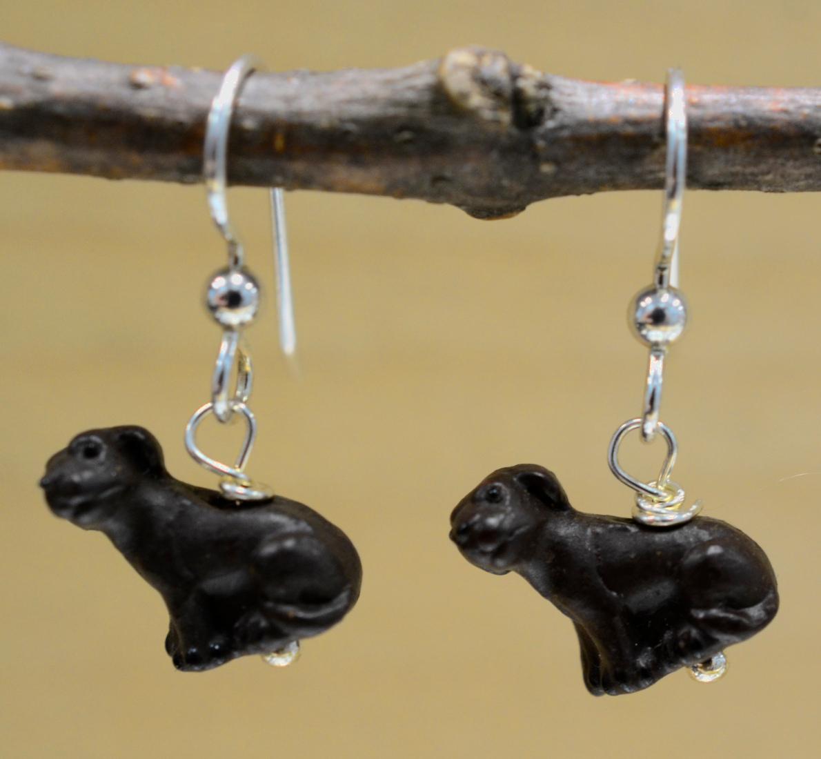 Handmade brown ceramic dog earrings