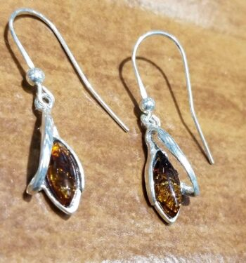 Handmade Baltic amber and sterling silver earrings