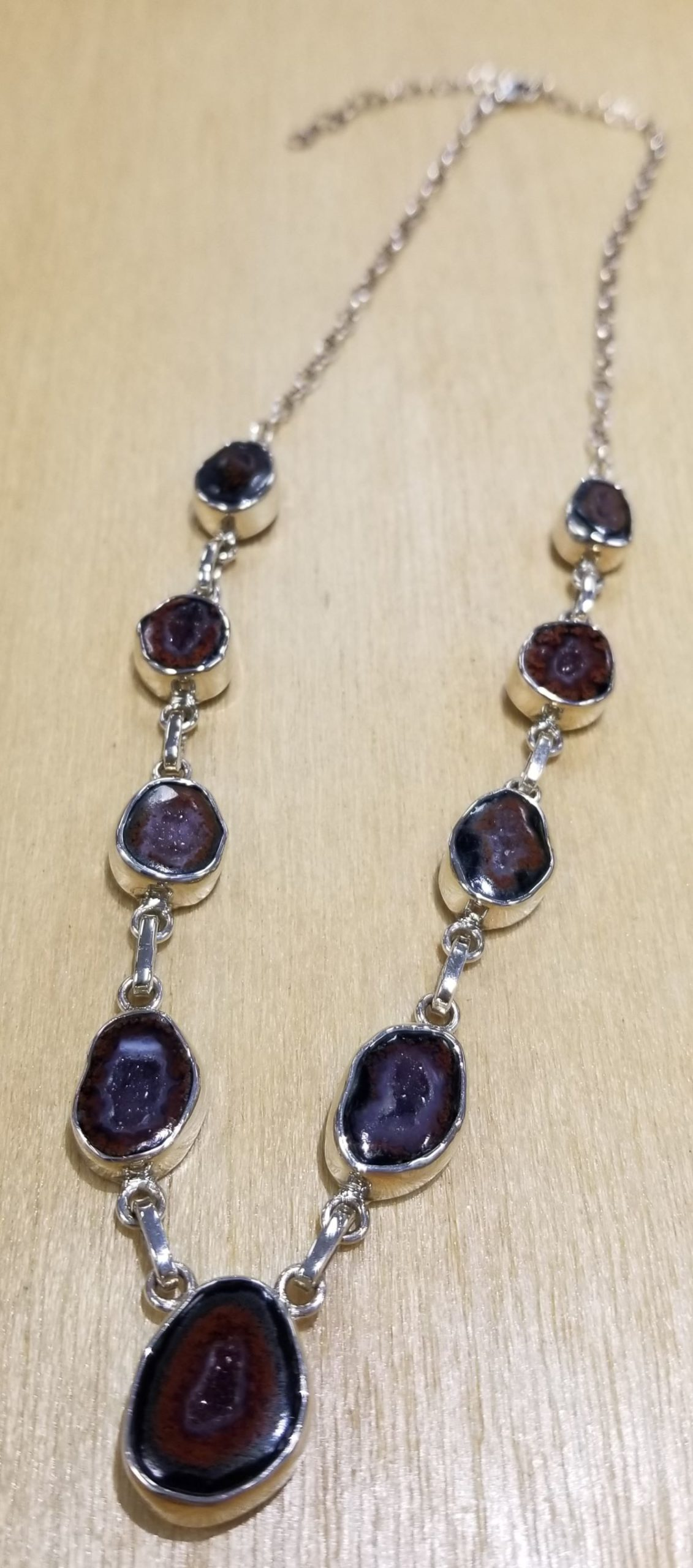 brown geode and sterling silver necklace