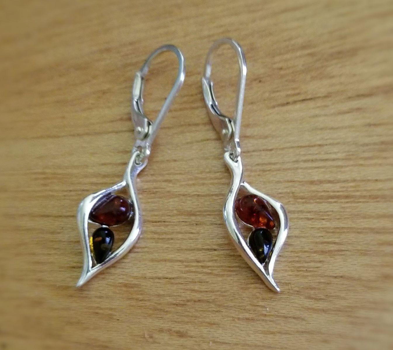 honey brown green amber sterling silver drop earrings