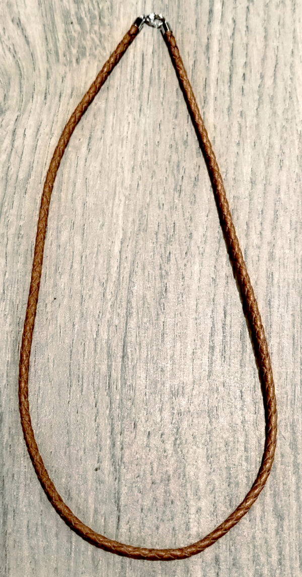 brown leather cord with silver clasp