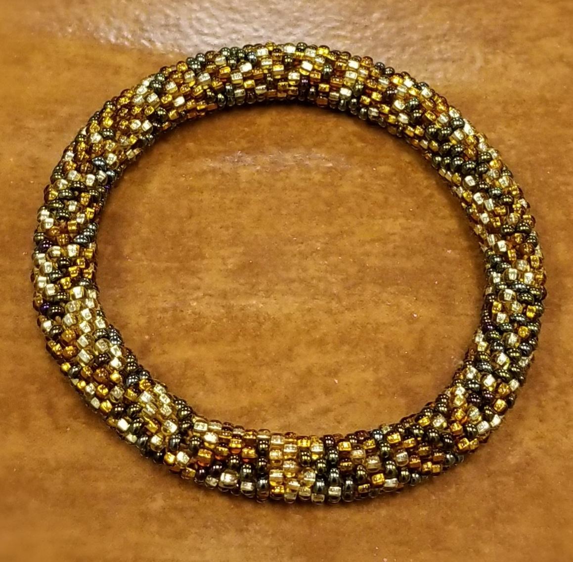 shades of brown Czech glass roll-on bracelet