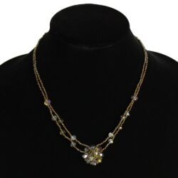 two strand brown Czech glass bead necklace