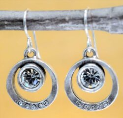 Patricia Locke Bubble Gum silvertone drop earrings in All Crystal