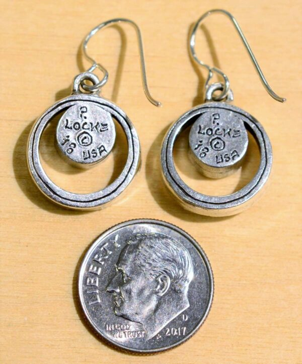 Back of Patricia Locke Bubble Gum silvertone drop earrings, shown with dime (not included) for scale