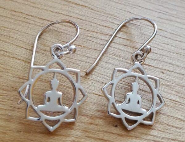 Buddha and lotus flower earrings