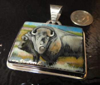 hand painted buffalo on black agate and sterling silver pendant with dime for size