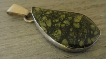 handmade bullfrog serpentine and sterling silver pendant by Dale Repp