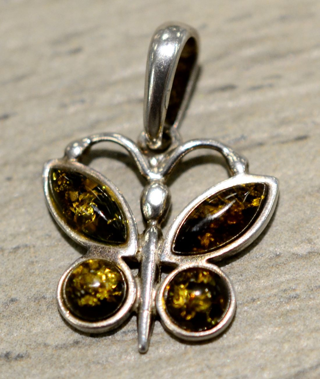 aefa3972c Handmade green Baltic amber and .925 sterling silver petite butterfly  pendant
