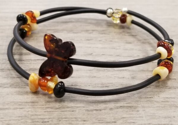 Amber butterfly and rubber wrap bracelet