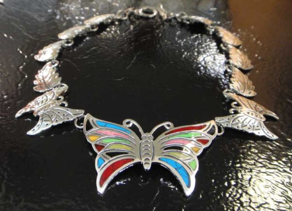 handmade sterling silver, stone, and resin detailed butterfly statement necklace from Taxco, Mexico