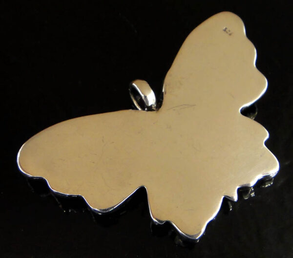 Handmade .925 sterling silver detailed butterfly pendant back view