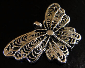 Handmade .925 sterling silver detailed butterfly pendant close up